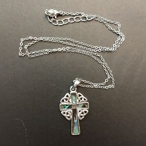 Abalone Celtic Cross Necklace